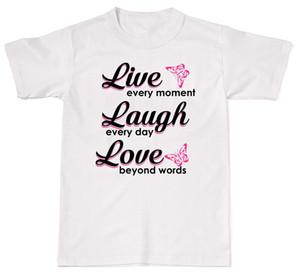 Жить каждый Momeny смеяться каждый день Любовь милый хлопок футболка Футболка