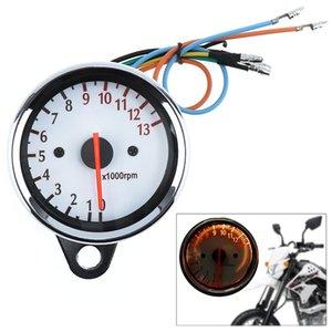 Allzweck 13000 RPM 12 V Motorrad Tachometer Kilometerzähler Weiß Chassis 5 Draht Drehzahlanzeige MOT_107