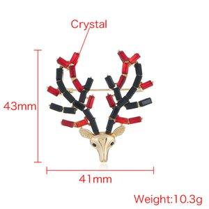 Crystal Deer Cute Cartoon Broschen und Pins Crystal Brosche Geschenk Pin Deer Head Broschen Pins Broschen für Männer Frauen