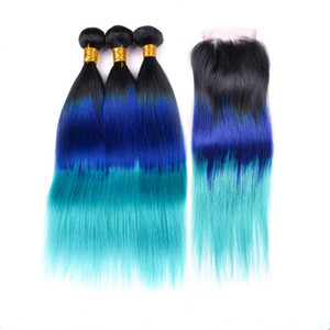 #1B Blue Teal Dark Root Ombre Virgin Brazilian Human Hair Bundles Deals with 4x4 Lace Closure Body Wave Three Tone Colored Weft Extensions