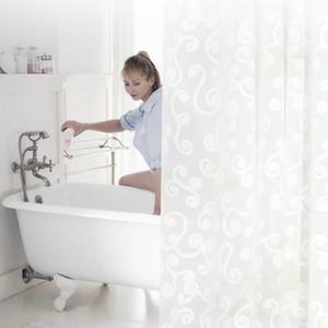 Новый дизайн Простая ванна занавес Белый Геометрическая Printed Защита PEVA душ Шторы пластиковые водонепроницаемый Mold Proof ванной комнаты Продукты