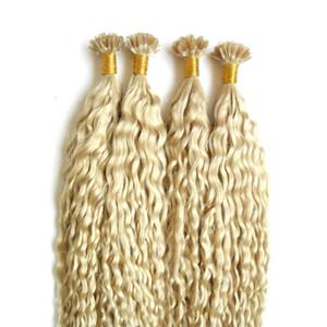 200g 100 % 진짜 인간의 머리카락 Pre 본드 네일 U 팁 케라틴 퓨전 헤어 익스텐션 금발 브라질 레미 헤어 컬리 자연 케라틴 캡슐