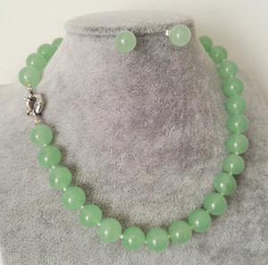Collana di perle di gemme rotonde di perle di giada verde mela da 12 mm + set di orecchini