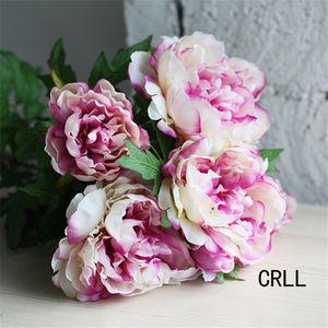 Yeni Tasarım Sahte Çiçekler Yapay Şakayık Buket İpek Gül Gelin Buketi Düğün Dekorasyon Mariage Çiçek Ev Dekorasyon için
