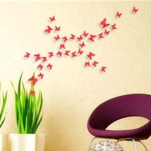 2017 120 adet = 10 setleri 3D Kelebek Duvar Çıkartmaları Kelebekler Docors Sanat / DIY Süslemeleri Kağıt karışık renkler sıcak satış a146