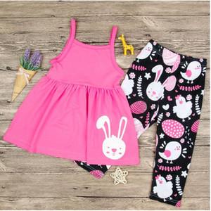 Vestido de niña de conejo el día de Pascua imprimió el sistema del verano del bebé sin mangas de la honda de las tapas y el traje de pantalones para niños Ropa Dos piezas de ropa ZHT 016