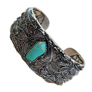 Bracelets rétro style ethnique bracelet bleu bijoux papillon sculpté manchette ouverte large bracelet @ 88
