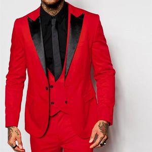 Fashion Red 3 Piece Suit Groom Tuxedos Peak Lapel One Button Bridegroom Wedding Suit Men Business Prom Dinner Blazer(Jacket+Pants+Tie+Vest)6