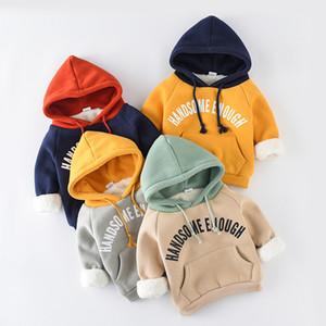 Abbigliamento per bambini Abiti per bambini Abiti a maniche lunghe Felpe con cappuccio in cotone Boy Winter Warm cotone outwear Abbigliamento infantile con 4 colori