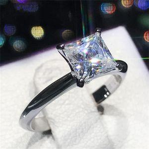 Luxo clássico Real Sólido 925 Anel de Prata Esterlina 2Ct Princesa-corte SONA Anéis de Noivado Da Jóia Do Casamento Do Diamante Para As Mulheres Tamanho 5-9