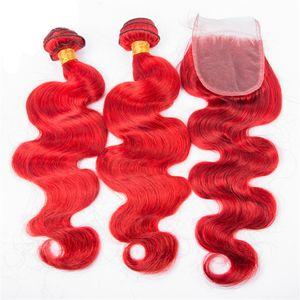 Объемная волна Связки с закрытием коротких красных волос Extensions Бразильская Боб человеческих волос Связки Красный волос с 4x4 Lace Closure