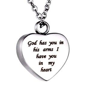 Dieu vous a dans ses bras Je vous ai dans mon coeur Crémation Bijoux Urne Collier Pendentif Acier Inoxydable