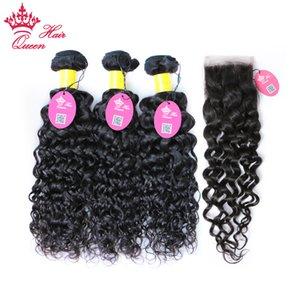 Productos para el cabello de la reina Peruvian Water Wave Lace Lace Weft Hair Armadura 3 Paquetes de cabello virgen humana con cierre 4pcs / lot