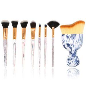 8 Pcs / set Marbre Maquillage Brushes Set Fondation Poudre Brosse Ombre À Paupières Visage Blusher Fan maquillage brosse Cosmétique Brosse Mélange Kits