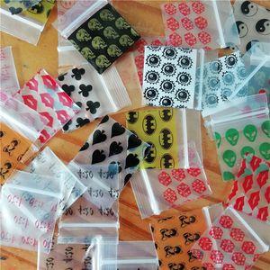 """100pcs Pequeño bolsas Zip-Lock 1010 bolsas de plástico pueden volver a cerrar la cremallera 30 Diseño Imprimir Zip Lock bolsa de color 1 """"X1"""""""