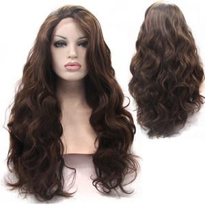 ZhiFan кружева фронтальная светло-коричневый 26 дюймов вьющиеся пушистые кружева перед парики натуральные волны блондинка коричневый парик
