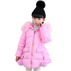 Warm Baby Teenager Winter Jacket For Girls Fur Hooded Kids Girls Winter Coat Cotton-Padded Parka Abbigliamento per bambini