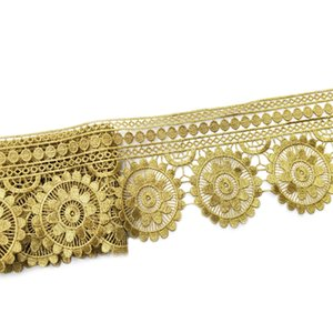 Sale by Yard Golden metallic thread flower high quality embroidery Lace Fabric Sewing costumes DIY Lace Trim H006
