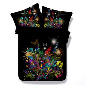 galáxia 3D edredon cobrir conjuntos de cama rainha colchas florais férias Quilt Covers Lençois Fronhas borboleta rosa vermelha azul amarelo