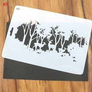 10 pçs / set DIY Árvore De Natal e Veados Padrão Pintura Template Bullet Jornal Stencil Set Embossing Scrapbooking Papel DIY Cartões