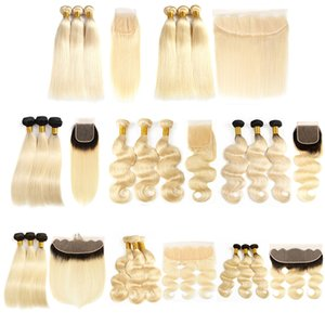 High Quality Human Hair Bundles with Lace Closure Frontal 613 1B 613 Ombre Blonde Hair Wholesale Vendors Brazilian Straight Body Wave Hair