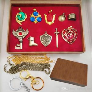 La légende de Zelda Arts Crafts Collection définit Hylian Shield Master épée porte-clés collier pendentifs enfants bijoux jouets 10pcs / set