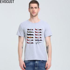 모든 F1 아일톤 세나 Sennacars T -Shirt 최고 라이크라 코튼 남성 반팔 T 셔츠 새로운 디자인 O-목은 무료 배송 탑