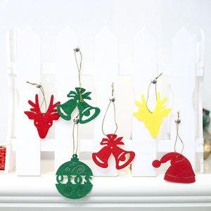 6 Pcs / ensemble de Noël Décorations Santa Claus étoiles Snowflower cloche arbre Caps motif Nouvel An ornements Feutre De Noël Décorations Supply Party