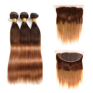 4 30 Straight Ombre Colored Bundles With Frontal Brazilian Virgin Human Hair Weave 3 Bundles With 13x4 Lace Frontal Ear To Ear Closure
