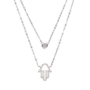 2018 nuevo collar de plata de doble capa de plata esterlina solo cz hamsa colgante de la mano lucky turkish 925 joyería de plata esterlina