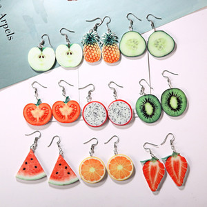Coréen mignon fruits goutte boucles d'oreilles individualité fraise ananas pastèque pomme orange Pitaya forme dangle oreille anneau pour les femmes bijoux