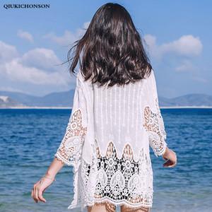 Qiukichonson Mulheres Cardigan De Renda Branca Bohemian Oco Out Flor Bordado Mulheres Tops de Praia Lace Up Cardigans Ar Condicionado