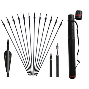 12pcs Huntingdoor Carbon Arrows 31 pouces Points de vissage de remplacement pour arc classique et arc à poulies avec carquois réglable noir