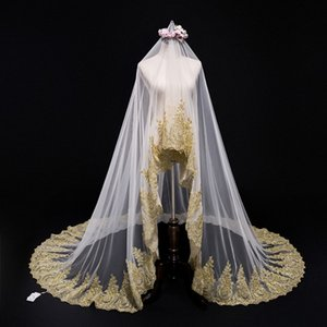 Luxury Wedding Long Veils Three and A Half Metres Long One Layer Gold Lace Appliqued Hem White Ivory Champagne Tulle Wedding Accessories