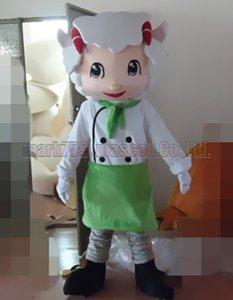 новый шеф-повар овец костюм талисмана Бесплатная доставка взрослый размер, овец талисман роскошные плюшевые игрушки карнавал партия празднует талисман заводских продаж.