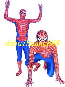 Kırmızı / Mavi Iki Örümcek-Adam Kostümleri Kıyafet Fantasy Lycra Spiderman Kahraman Suit Catsuit Kostümleri Unisex Örümcek Adam Bodysuit Cosplay Kostümleri DH292