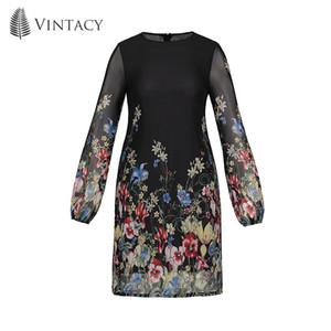 Vintacy mujeres mini vestido de expansión gasa por encima de la rodilla Estampado floral vacaciones de verano 2018 moda moderna mujeres mini vestidos largos