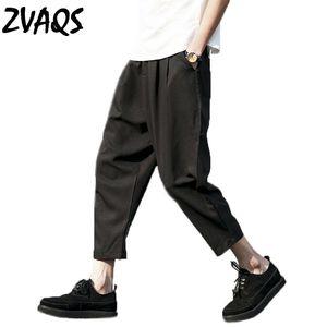 Yaz Yeni Rahat Harem Pantolon Erkekler Gevşek Ayak Bileği Uzunluk Pantolon Geniş Bacak Keten Pantolon Erkekler Artı Boyutu 5XL Pantalon Homme ZVAQS XT213