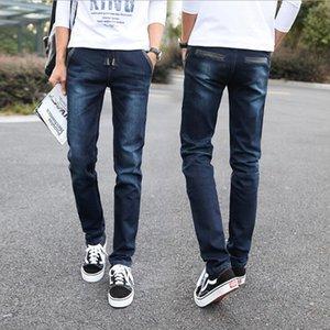 Skinny Jeans Men Drawstring Slim Fit Denim Joggers Stretch Male Jean Pencil Pants Blue Men's Snow Wash Jeans Moda Casual Hombre