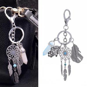 Ловец снов брелоков сумка Шарм серебра способа Boho ювелирных изделий Лист шестигранной Колонка подвеска брелок для женщин