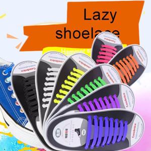 16pcs / ensemble 2018 nouvelles baskets fit sangle coloré lacets conception serrure plat non paresseux sans lien cravate élastique pour tous les baskets