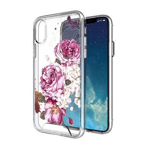 PURE KASE for iphone X Clear Case, Flower Case Clear Design Printed Hard With TPU Bumper Protective Hard Case for iphone 7 8