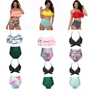 Donne BIKINI 9 stile Ruffles design e fiore stampa pois estate beach costumi da bagno bikini lady due pezzi costumi da bagno nave libera