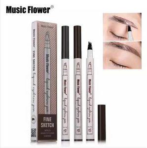 HOt !!! Música Flor Caneta Sobrancelha Líquida Música Flor Sobrancelha Potenciador 3 Cores Quatro Cabeça da Sobrancelha Potenciador epacket À Prova D 'Água livre