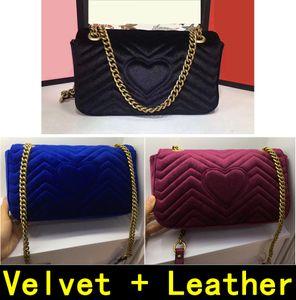 Marmont 443497 Velvet + Leather Autunno Inverno Style Borse di lusso di alta qualità originale in vera pelle fodera borse a tracolla in seta 446744