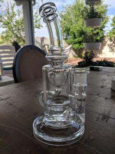 8 дюймов Клейн стекло Бонг Клейн буровые установки вихревые Dab буровые установки стекло ресайклер водопровод совместное размер 14,4 мм шаровые буровые установки семена жизни копия перк бонг