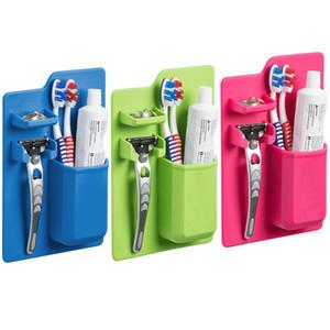 Organizador de baño de silicona suave Mighty titular de cepillo de dientes baño chupar espejo caja de almacenamiento organizador Shaver pasta de dientes