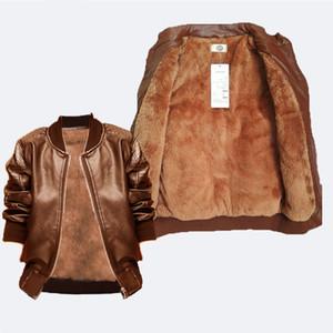 2018 kids boys outwear clothing spring autumn plus velvet warm coat for winter children boys pu leather jackets