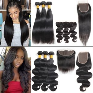 Factory Straight Brazilian Human Hair Bundles with Frontal Unprocessed Body Wave Virgin Hair Bundles with Closure Hair Extensions Deep Kinky