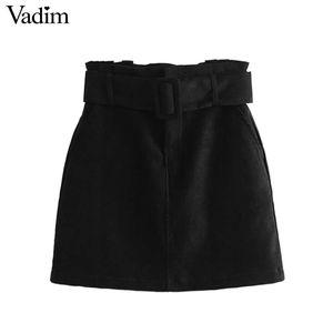 Vadim vintage black suede paperbag waist skirt faldas mujer elastic high waist sashes zipper  ladies casual mini skirts BA203